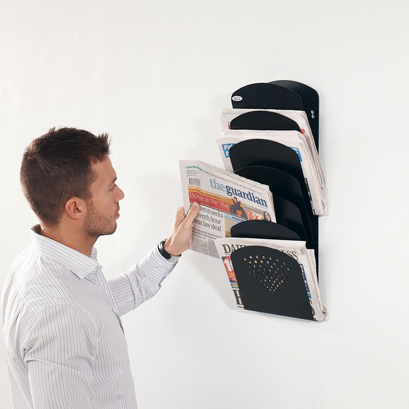 7 Pocket Wall Mounted Newspaper Rack Discount Displays