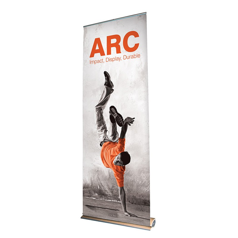 Arc Banner Stand 850mm Wood Base Roller Banner