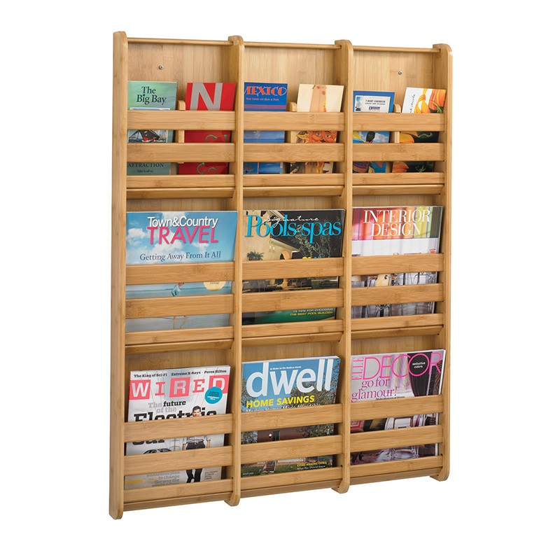 Wall Mounted Magazine Rack Bamboo Discount Displays