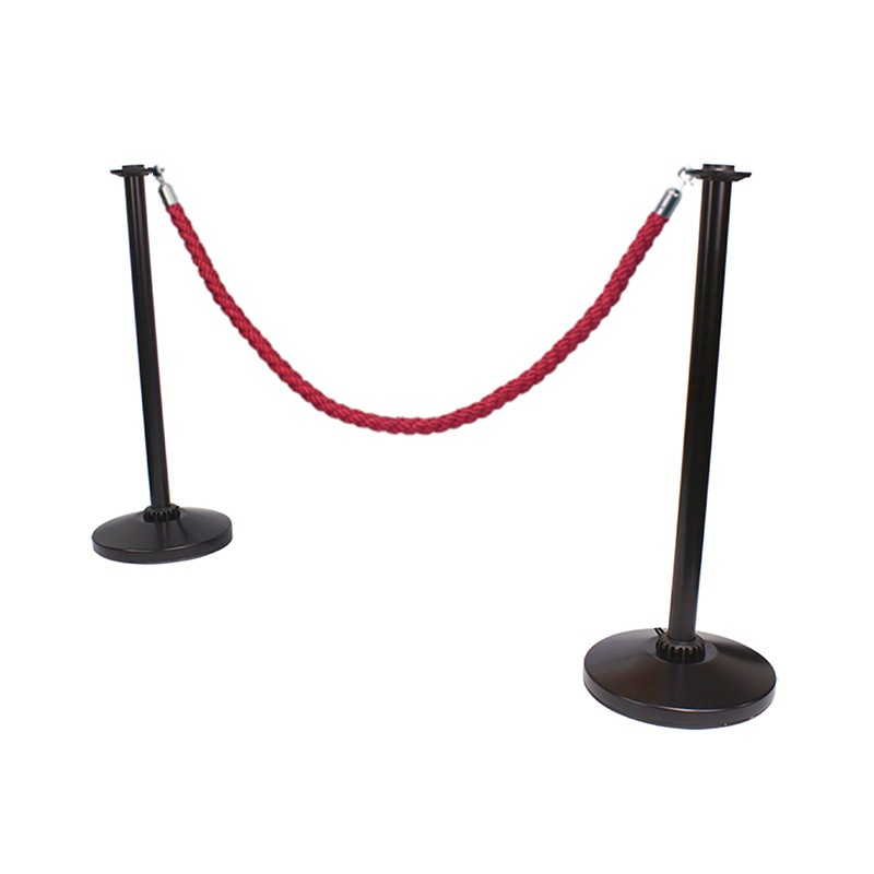 Black Rope Barrier Post Crowd Control Stanchion