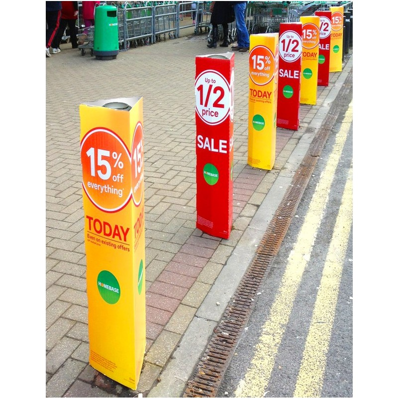 Printed Correx Bollard Covers Discount Displays