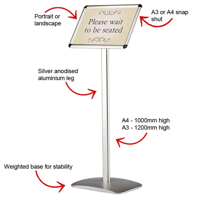 Free Standing Sign Holder Display Stand A3 Or A4 Discount Displays