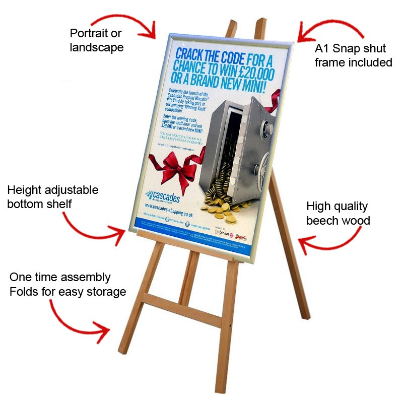 Wooden Display Easel With Poster Frame Discount Displays