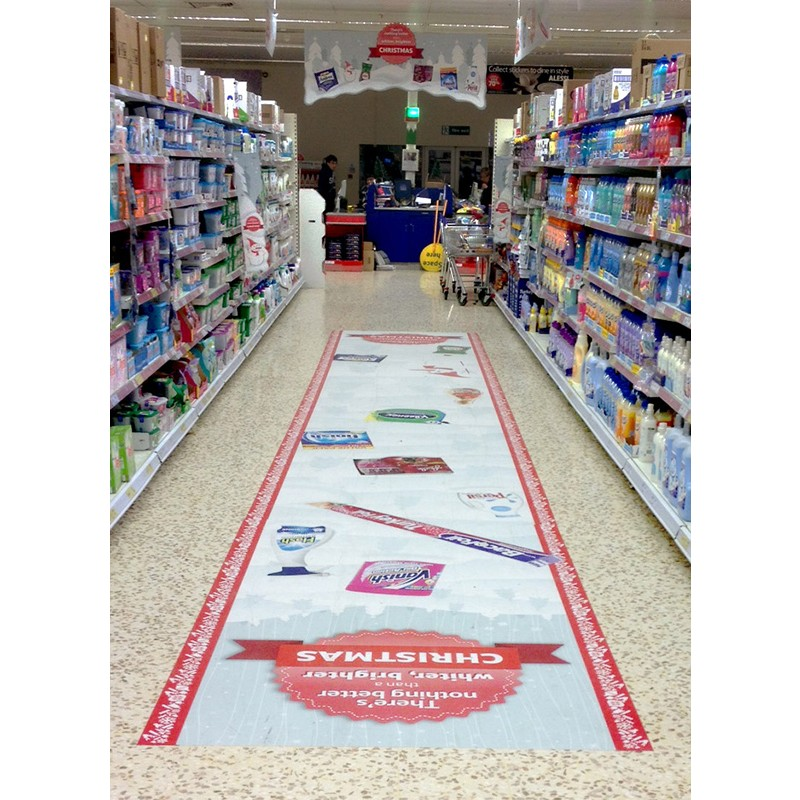 Retail signage promotional vinyl floor graphic printing for Floor stickers