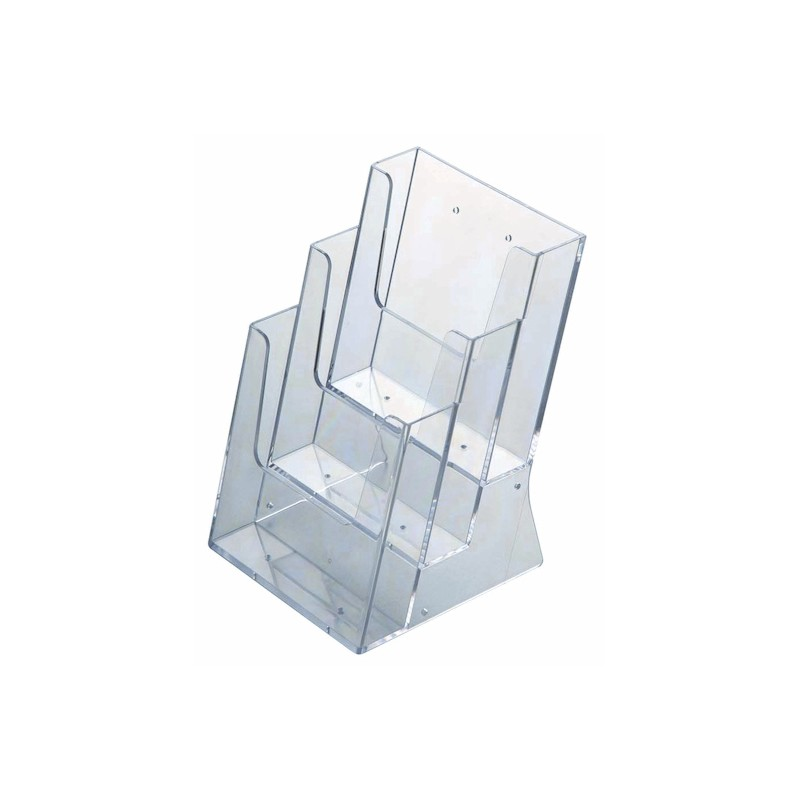 Acrylic brochure holder multi pocket discount displays for Plastic flyer stand