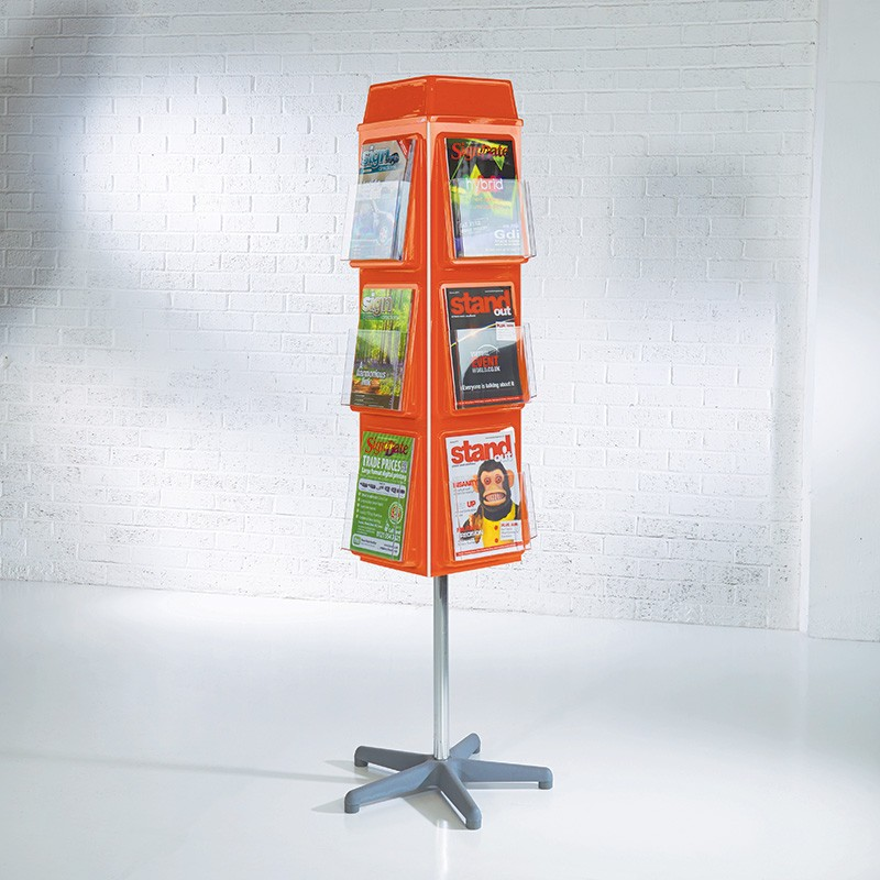 4 sided rotating brochure display stand for Table header rotate th rotate 45