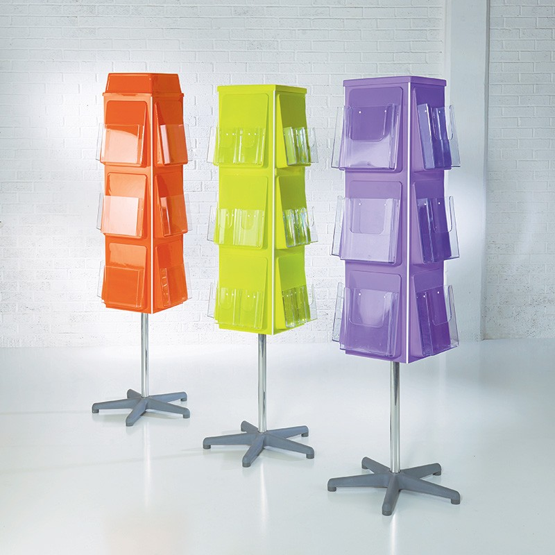 Exhibition Literature Stand : Sided rotating brochure display stand discount displays