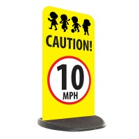 School Economy Pavement Sign - Caution 10mph