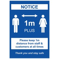 1m Social Distancing Notice - Pack of 10 - Poster | Sticker | Sign