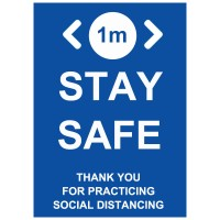 1m Stay Safe Social Distancing - Pack of 10 - Poster | Sticker | Sign
