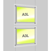 2x A3 Single Landscape Illuminated Cable Display