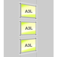 3x A3 Single Landscape Illuminated Cable Display