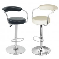 Bar Stools UK - Black and Cream Faux Leather Bar Stool