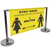 Social Distancing Cafe Barrier and Banner - 1500mm Wide