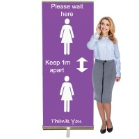 Keep 1m / 2m Apart Banner Stand - 845 or 1000mm Wide