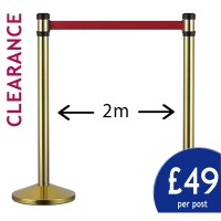 2m Gold Retractable VIP Barrier - PRICE PER PAIR