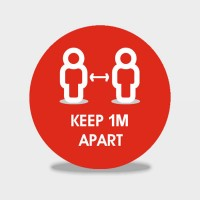 Keep 1m / 2m Apart Floor Stickers sold in packs of 6