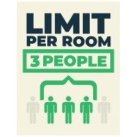 Limit Per Room 3 People - Pack of 10 - Poster | Sticker | Sign