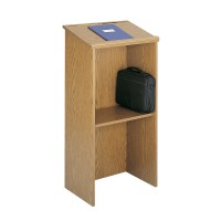 Wood Veneer Lectern with Shelf