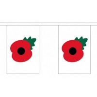 Poppy Bunting - 10 Flags / 22.5m Length