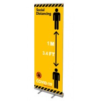 Social Distanding Yellow Banner Stand - 800 or 1000mm Wide