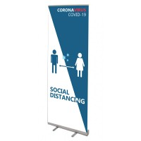 Social Distanding Blue/White Banner Stand - 845 or 1000mm Wide