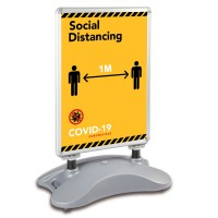Social Distancing 1m / 2m - COVID-19 A1 Windjammer Pavement Sign
