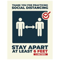 Thank You For Social Distancing - Pack of 10 - Poster | Sticker | Sign