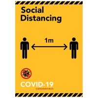Social Distancing 1m Yellow/Black - Pack of 10 - Poster | Sticker | Sign