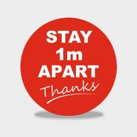 Stay 1m / 2m Apart floor Stickers - sold in packs of 6