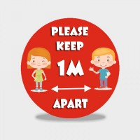 Please Keep 1m / 2m Apart - Schools Social Distancing Floor Stickers - Pack of 6