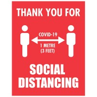Thank You For Social Distancing Red Background - Pack of 10 - Poster | Sticker | Sign