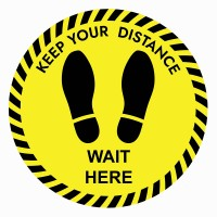 Keep Your Distance Wait Here Floor Stickers - Pack of 6