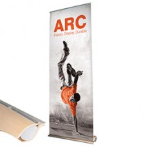 Arc Banner Stand with Non Curl Graphics