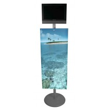 Free standing AV stand with the added impact of a printed graphic panel