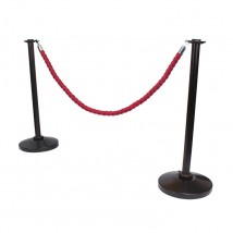 Black Rope Barrier Post