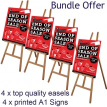 4 display easels with printed signs