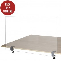 Pair of Table Clamp Covid Screens - 700 x 900mm