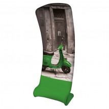 Formulate slant printed fabric display