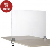 Pair of Clear Perspex Desk Divider Screens