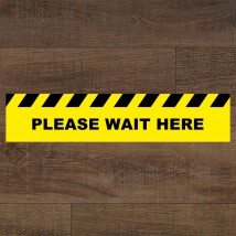 Please Wait Here Rectangle Floor Stickers - Pack of 6
