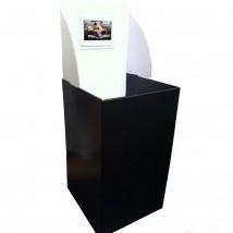 "Square Shop Dump Bin with 7"" Digital Screen"
