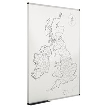 UK County Outline Map Magnetic Whiteboard 1200 x 900mm