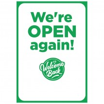 We're Open Again - Pack of 10 - A2 Poster or Sticker