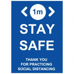 1m Stay Safe Social Distancing - Pack of 10 - A2 Poster or Sticker