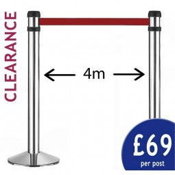 4m Retractable Barrier - PAIR of Silver Posts - Red Belt