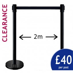 2m Clearance Barriers - Pair of Black Posts with Black Belt