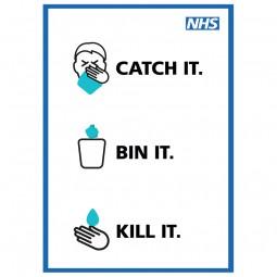 Catch It, Bin It, Kill It - Pack of 10 - A2 Poster or Sticker