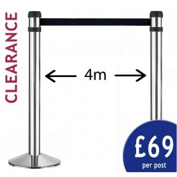 4m Retractable Barrier - PAIR of Silver Posts