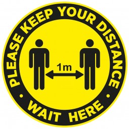 Please Keep Your Distance Wait Here Floor Stickers - Pack of 6